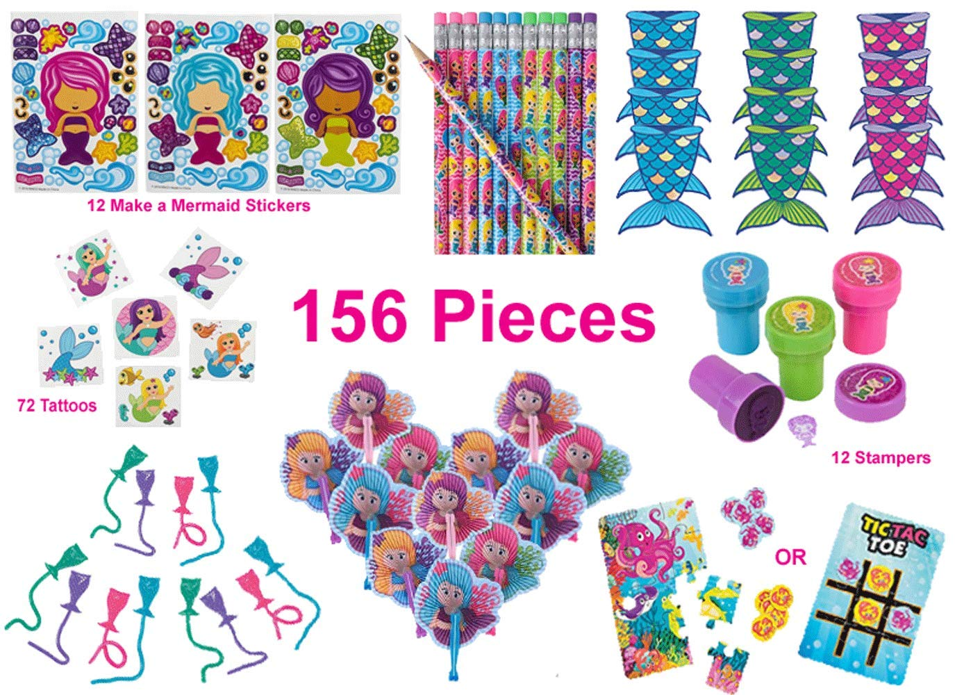 Mermaid Party Favors, Birthday Pack for 12 Kids - 156 Pieces - Novelty Toys - Notebooks, Pencils, Stampers, Make a Mermaid Stickers, Folding Fans, Sticky Tails, 12-Piece Sea Life Puzzles/Tic-Tac-Toe Game, 72 Tattoos