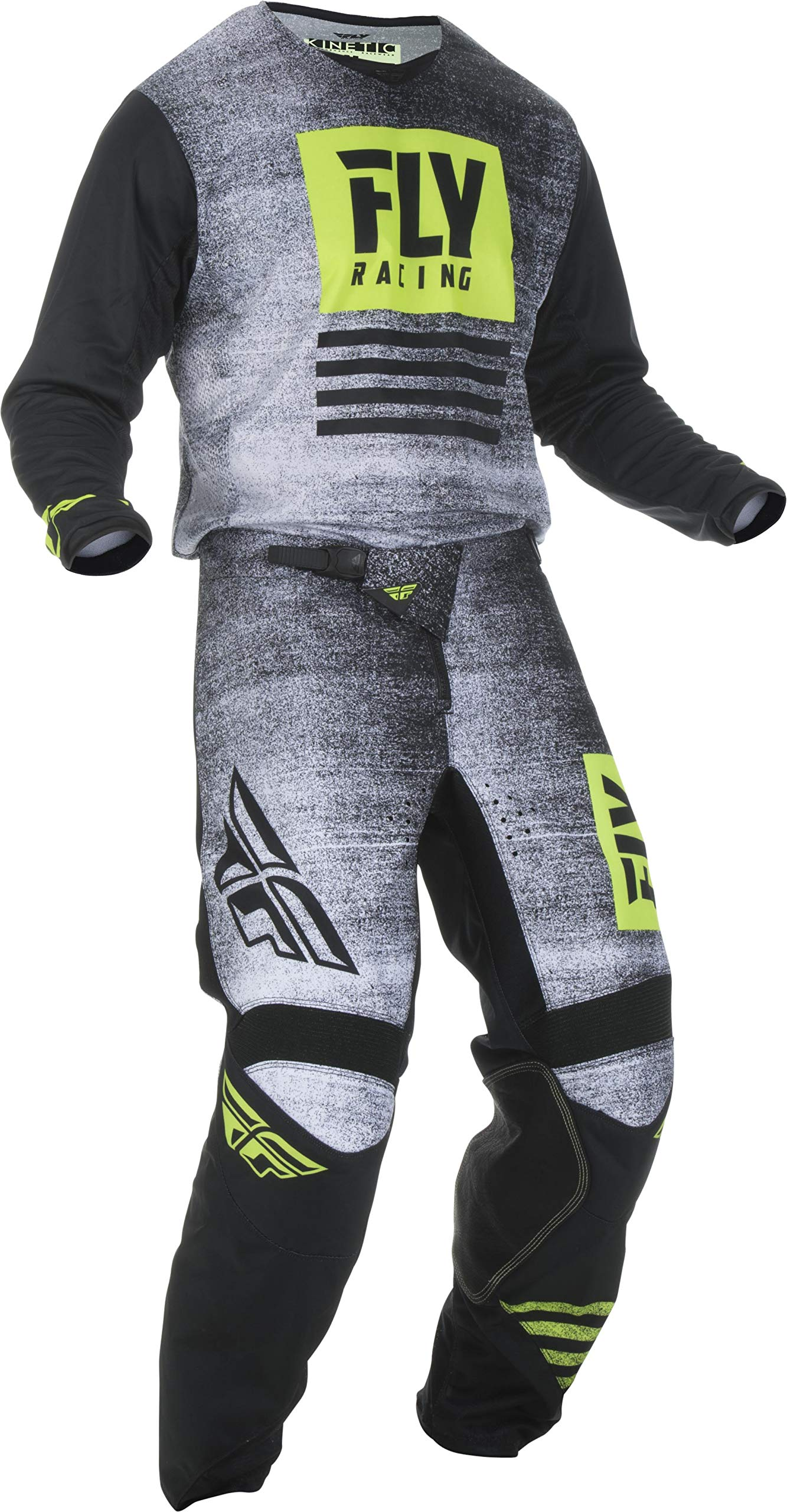 Fly Racing - 2019 Kinetic Noiz (Mens Black & HI-VIS X-Large/36W) MX Riding Gear Combo Set, Motocross Off-Road Dirt Bike Light Weight Durable Jersey & Mesh Comfort Liner Stretch Pre Shaped Knees Pant