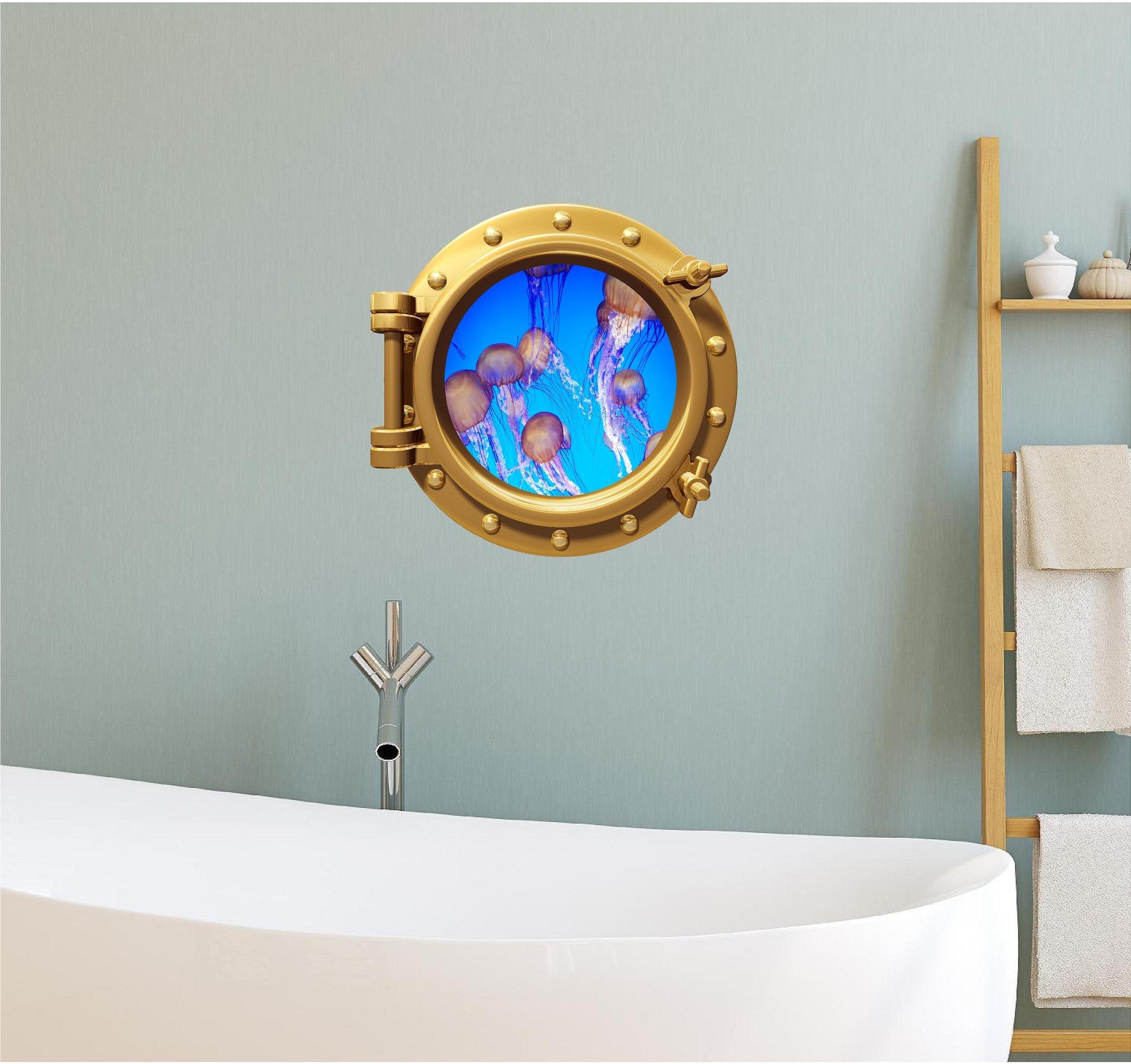 12'' Port Scape WALL DECAL Sea JELLYFISH Jelly fish #1 BRONZE Porthole Vinyl Sticker Mural