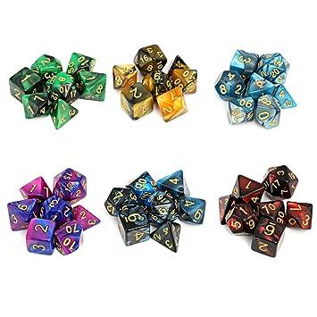 Moncolis 6 x 7 (42 Stück) Polyedrische Würfel Set mit Taschen Doppel ...