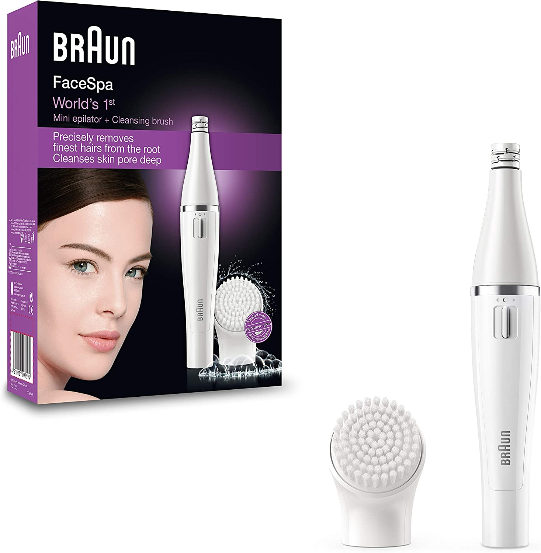 Braun Face 810 - Depiladora facial con cepillo limpiador facial, color blanco