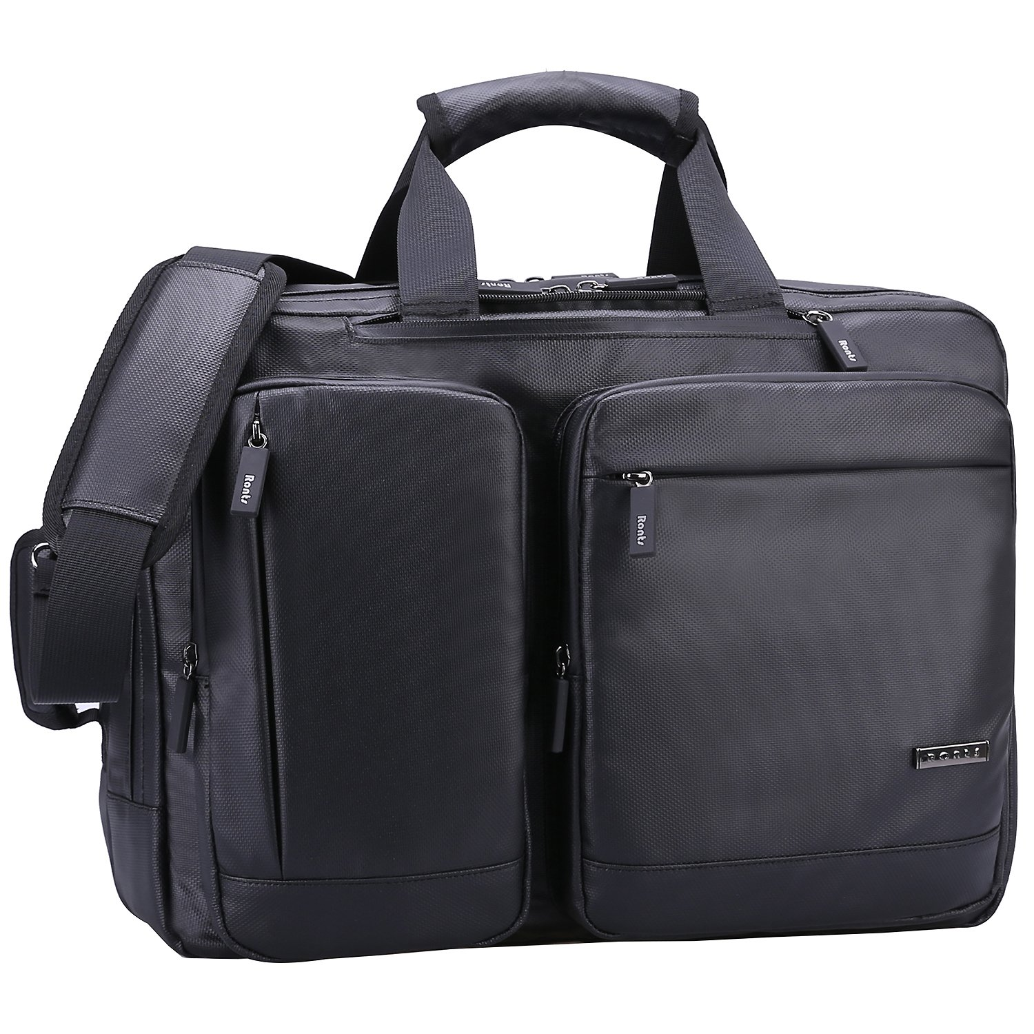 Ronts Convertible Briefcase Backpack Multifunctional Waterproof 15.6 Inch Laptop Case 1-2 Days Portable Travel Business Messenger Bag for Men/Women, Black