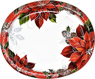 Amazon.com: 50 Count Christmas Oval Paper Plates Platters ...