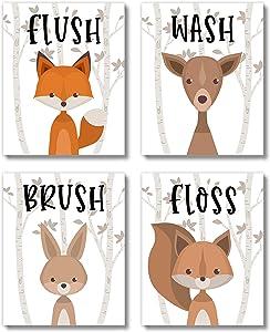 Brooke & Vine Kids Bathroom Wall Decor Art Prints (UNFRAMED 8 x 10 Set of 4) - Woodland Animals Farmhouse Rustic Toddler, Baby Girl, Baby Boy, Classroom (Woodland Animals Quad)