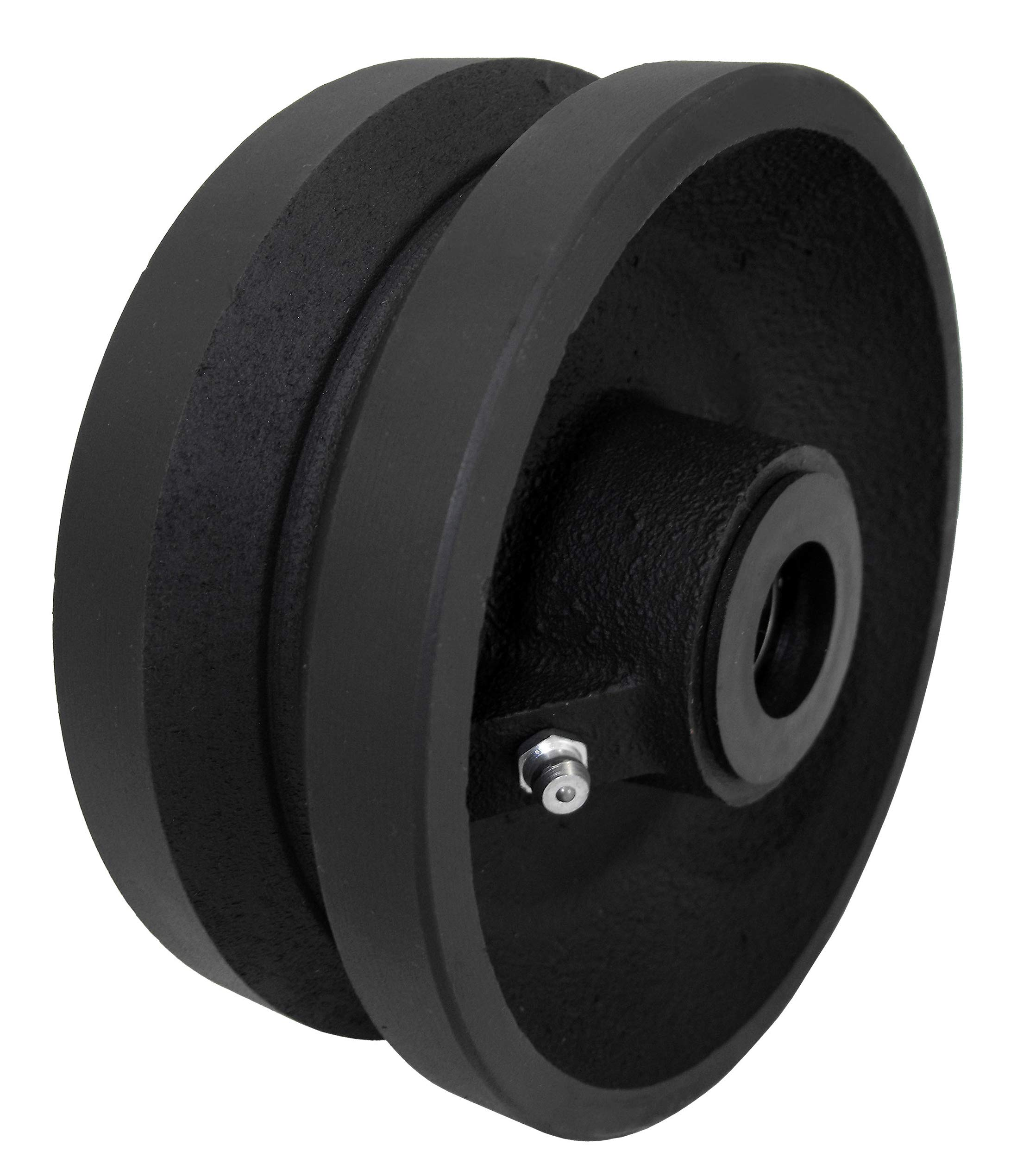 CasterHQ 4'' X 1-1/2'' V Groove Wheel 350 LBS Capacity Replacement Wheel Commercial/Industrial Application Includes 3/4'' Roller Bearing with 1/2'' ID Spanner Bushing Bore 1/2''