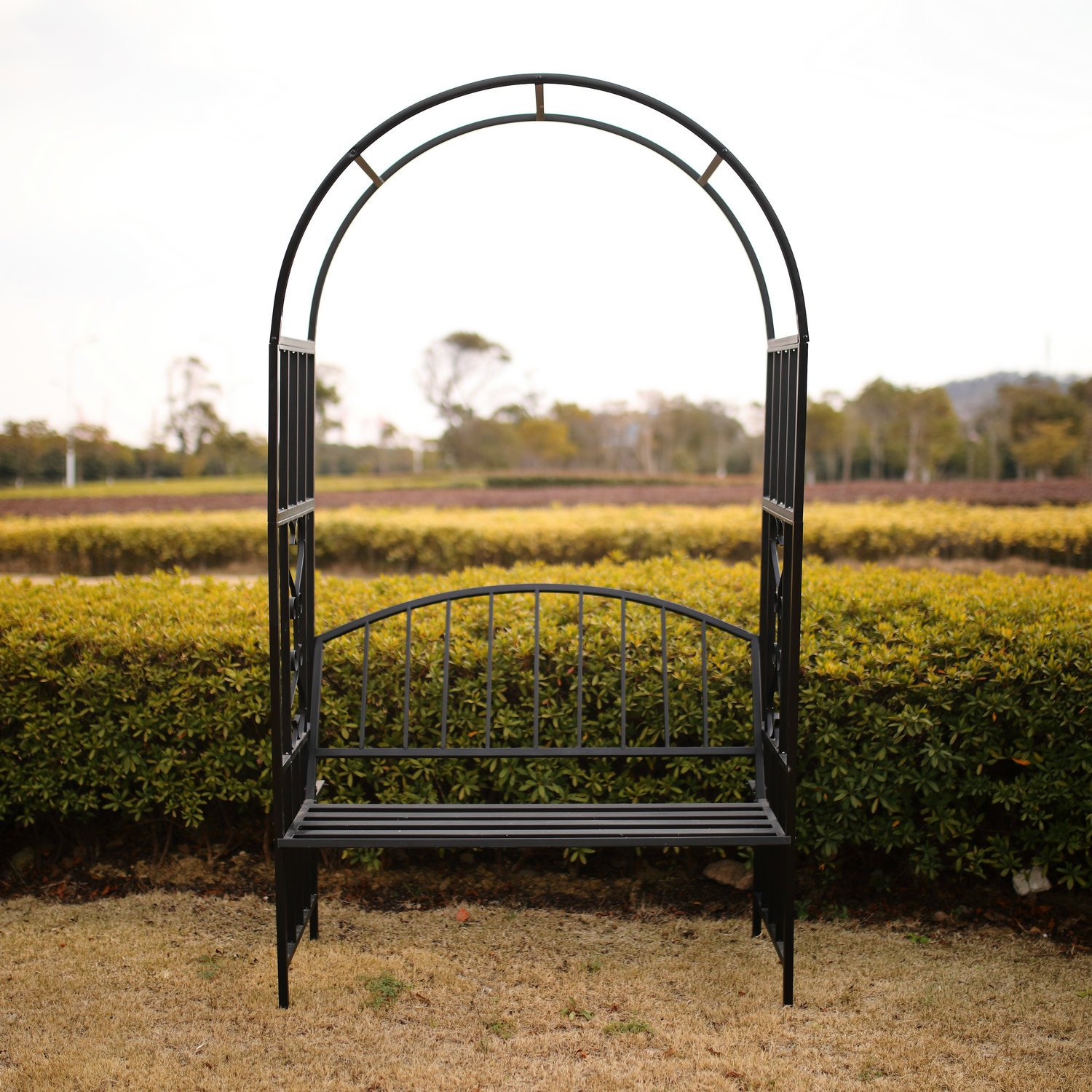 Amazon.com : Better Garden Steel Garden Arch with Seat for 2 People ...
