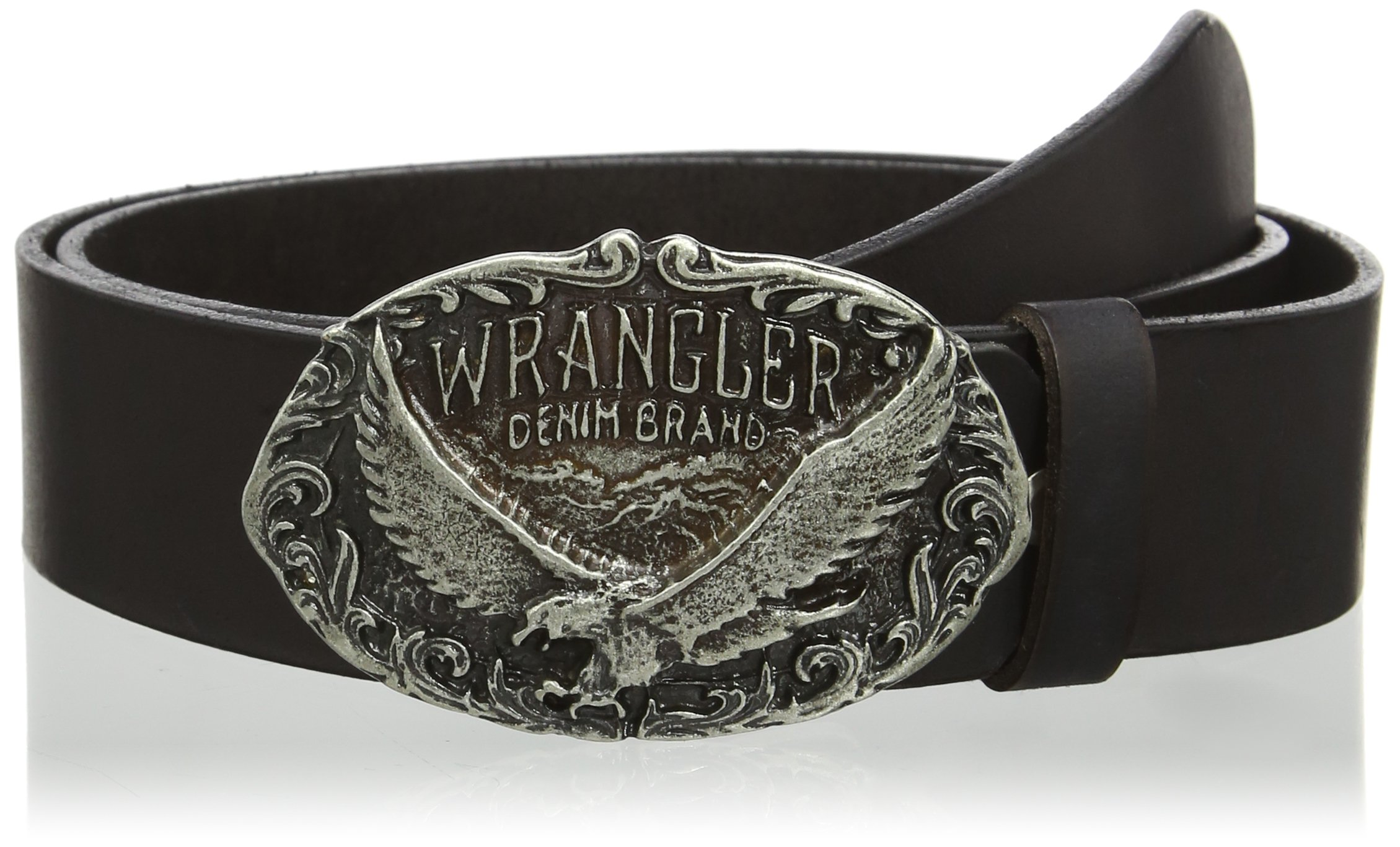 WRANGLER ''Eagle Buckle'' Cut to Fit Belt in Black Leather in XS