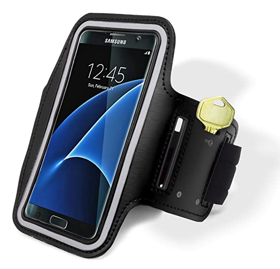 huge discount 156e4 fd0aa Samsung Galaxy S7 Edge Armband, Bastex Black Runners Armband Case with Key  Slot for Samsung Galaxy S7 Edge G935