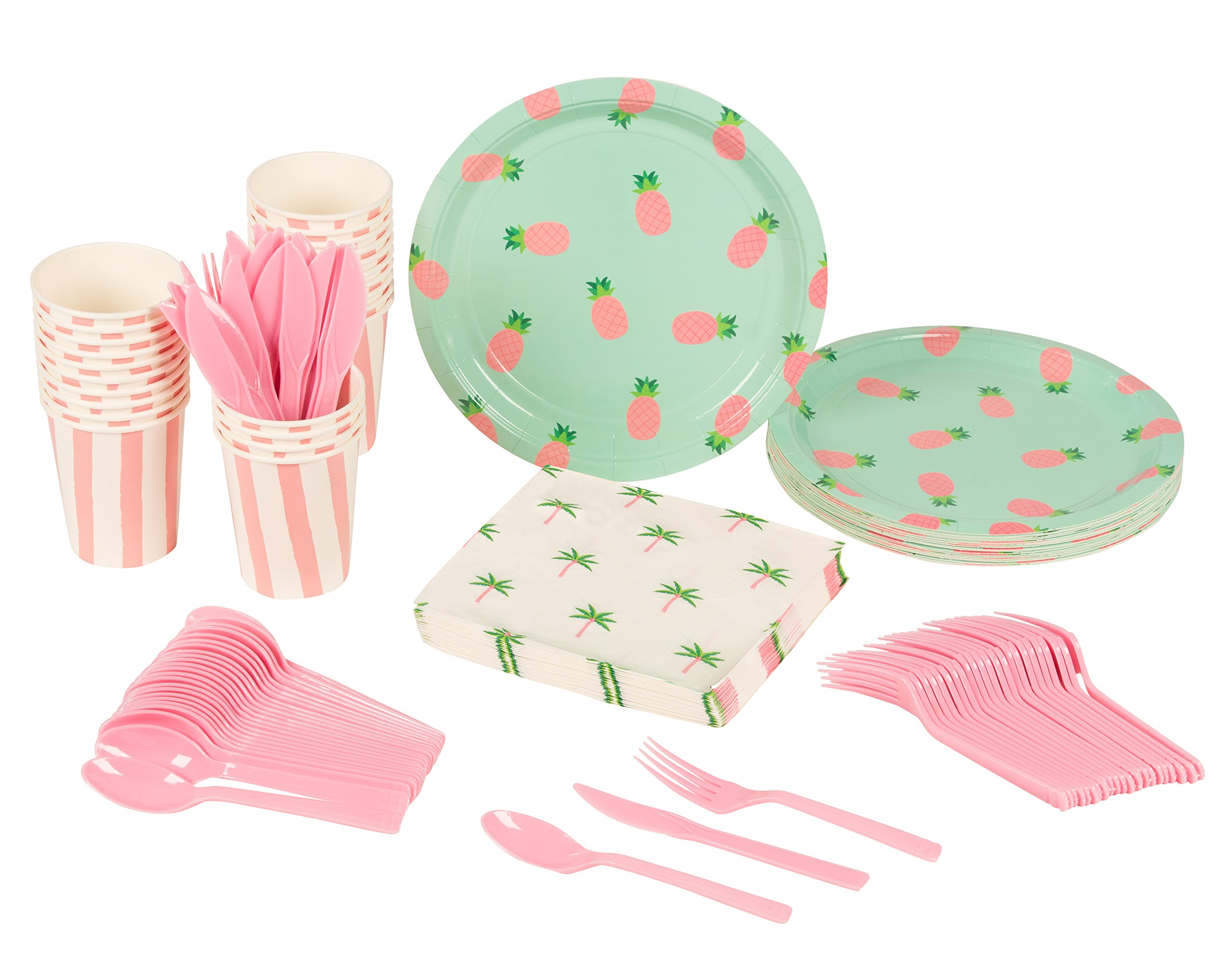 Disposable Dinnerware Set - Serves 24 - Pineapple Party Supplies for Kids Birthdays - Includes Plastic Knives, Spoons, Forks, Paper Plates, Napkins, Cups