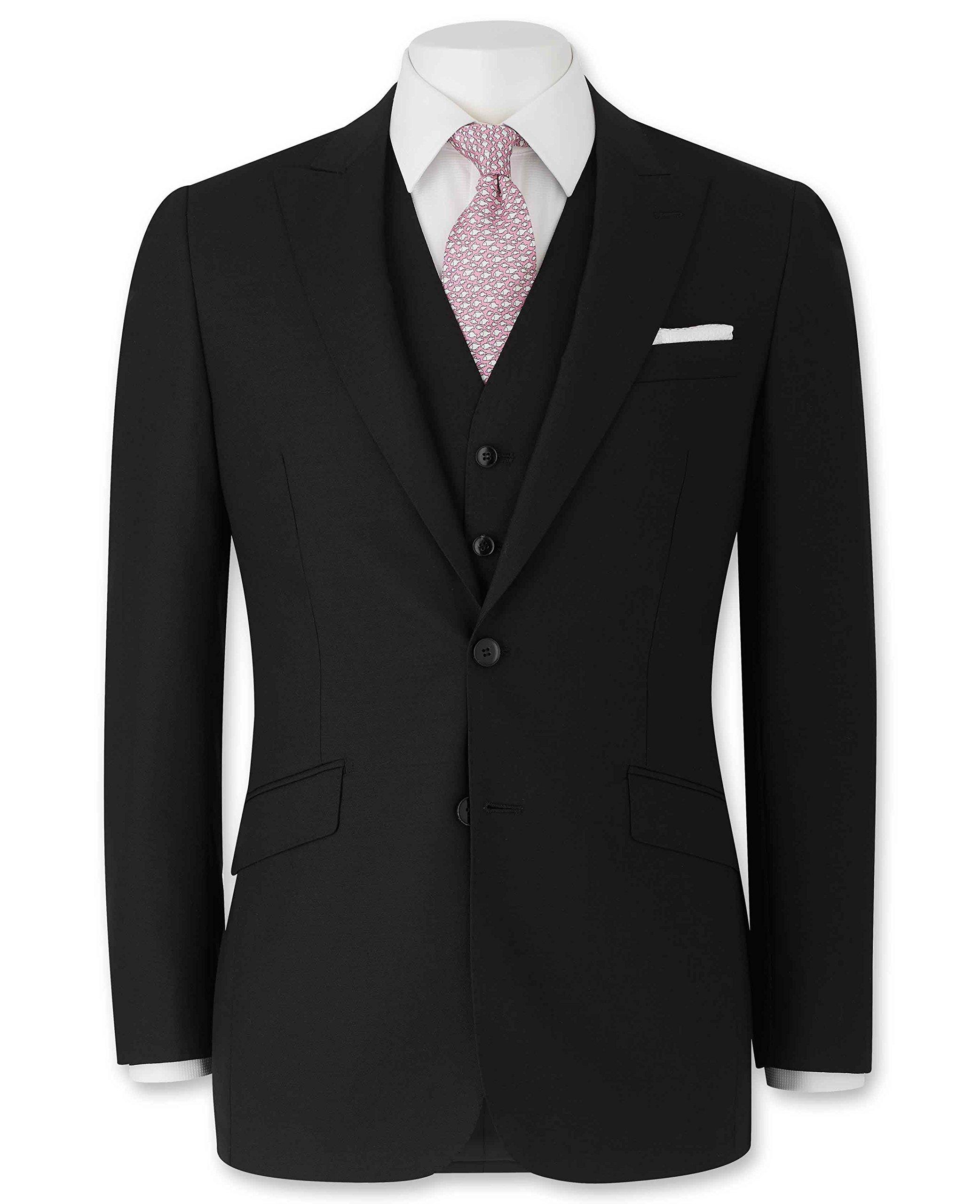 Savile Row Men's Black Tailored Business Suit Jacket 42'' Regular