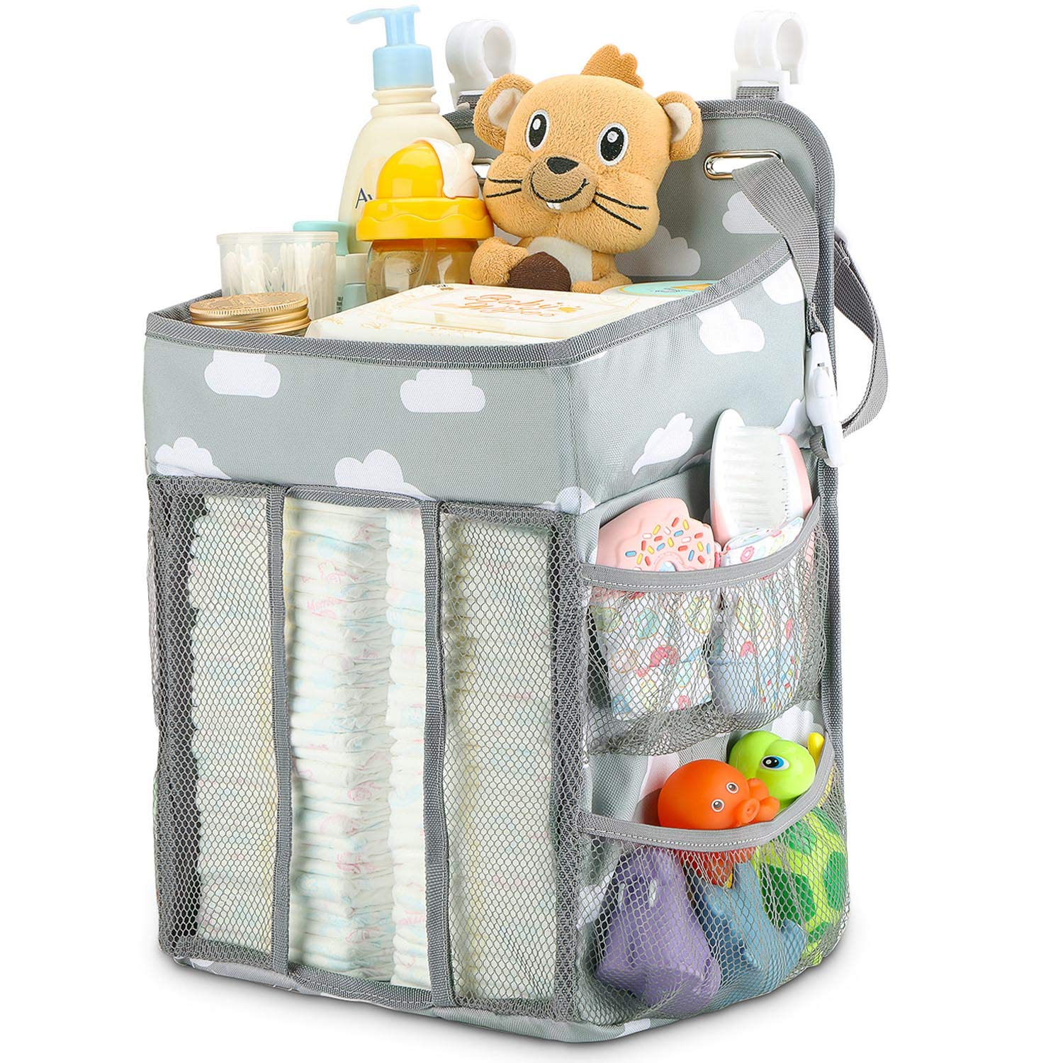 Hanging Diaper Caddy Organizer - Diaper Stacker for Changing Table, Crib, Playard or Wall & Nursery Organization Baby Shower Gifts for Newborn (Gray Cloud) by Maliton