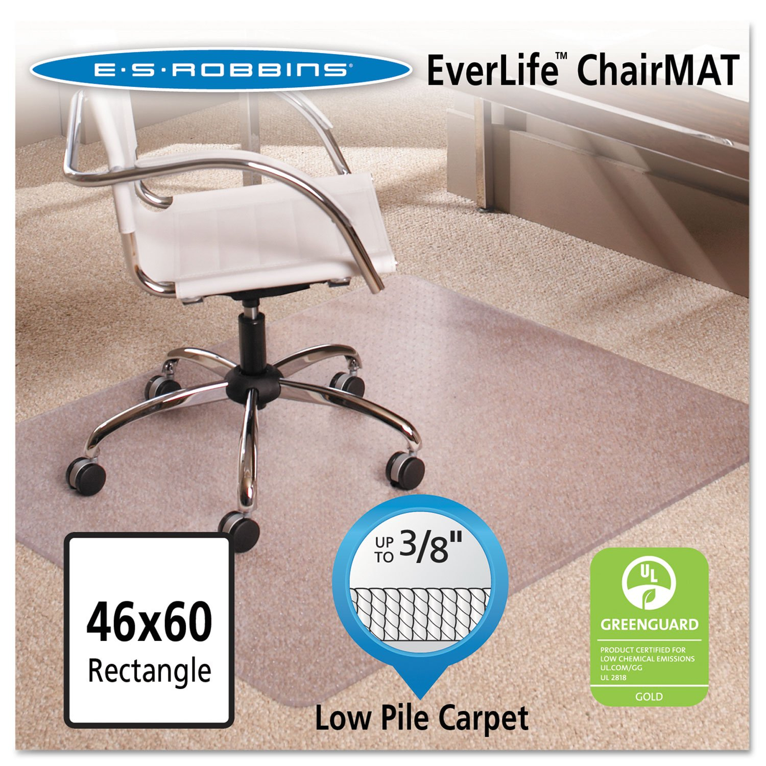 ES Robbins 128371 46x60 Rectangle Chair Mat, Multi-Task Series AnchorBar for Carpet up to 3/8''