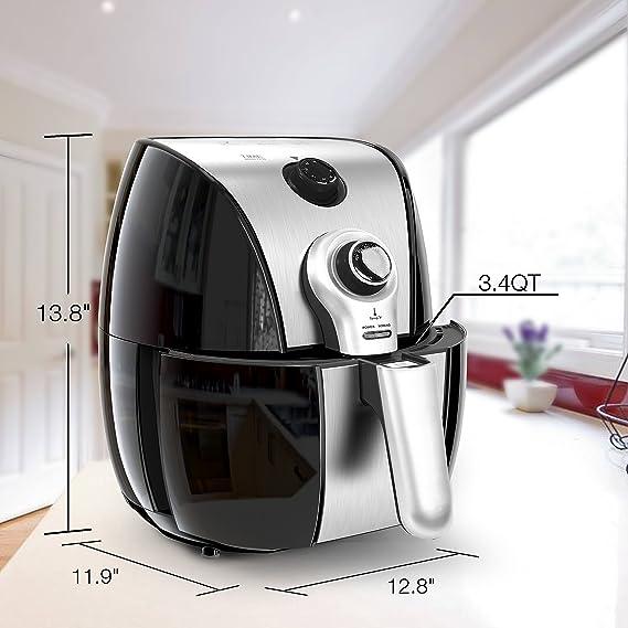 HOLSEM Freidora con sistema de circulación rápida de aire, temperatura del aire a 400° F, negro/acero inoxidable, 1500W(Knob): Amazon.es: Hogar