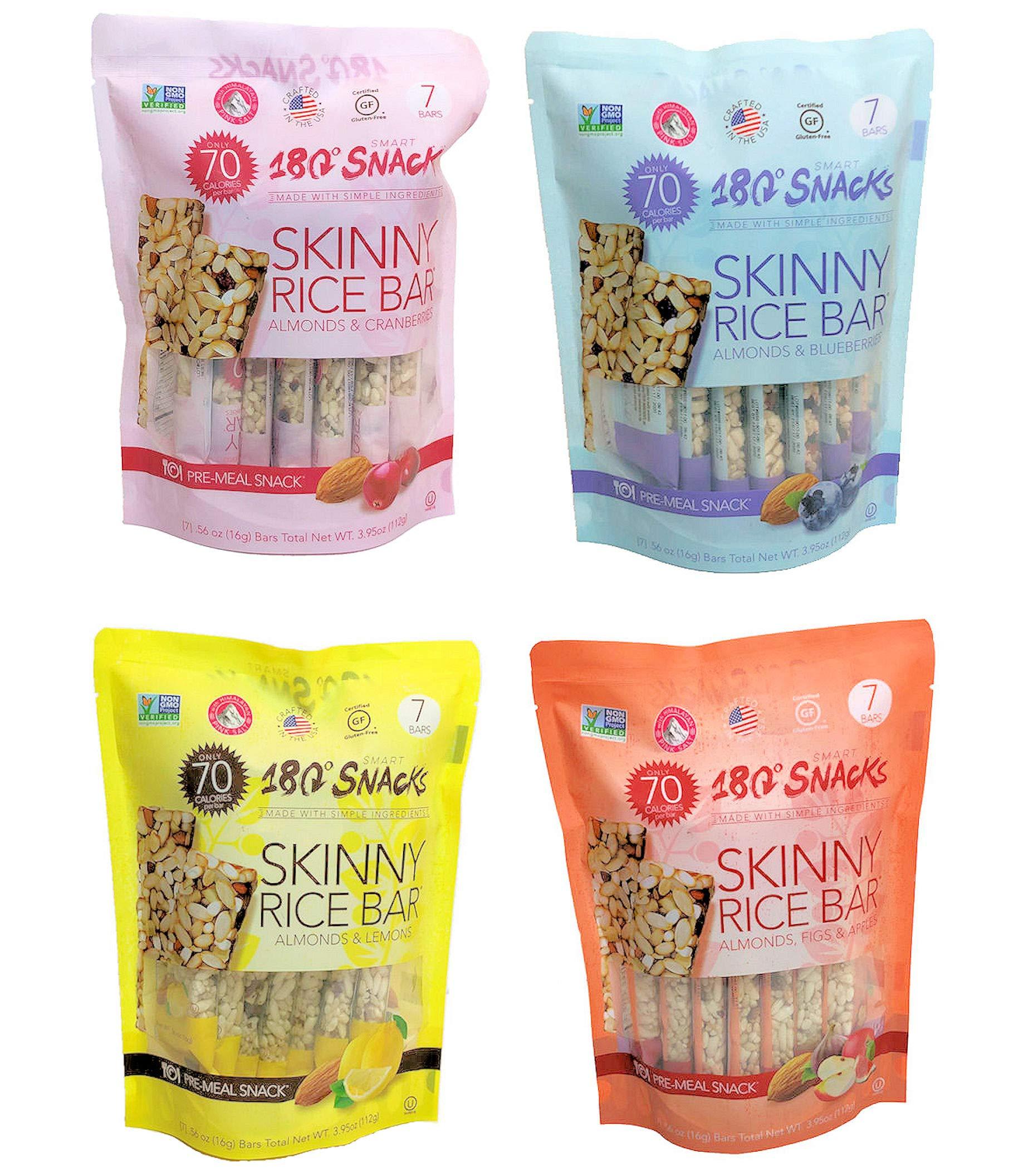 180 Snacks Pre-Meal Snack Skinny Rice Bar with Himalayan Salt Variety Bundle Pack (4) 3.22 oz each by 180 Snacks