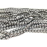 jennysun2010 6mm Natural Non-Magnetic Hematite Gemstone Round Ball Beads 16'' Inches Metallic Silver 1 Strand for Bracelet Necklace Earrings Jewelry Making Crafts Design Healing