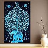 ModTradIndia-Elephant Under Tree Tapestry, Indian Hippie Wall Hanging , Bohemian Bedspread, Mandala Cotton Dorm Decor Beach Blanket