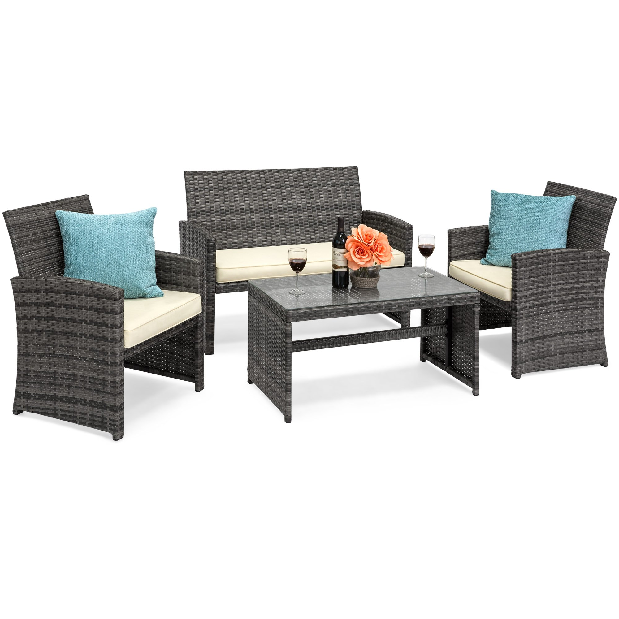 Best Choice Products 4-Piece Wicker Patio Furniture Set w/Tempered Glass, 3 Sofas, Table, Cushioned Seats - Gray