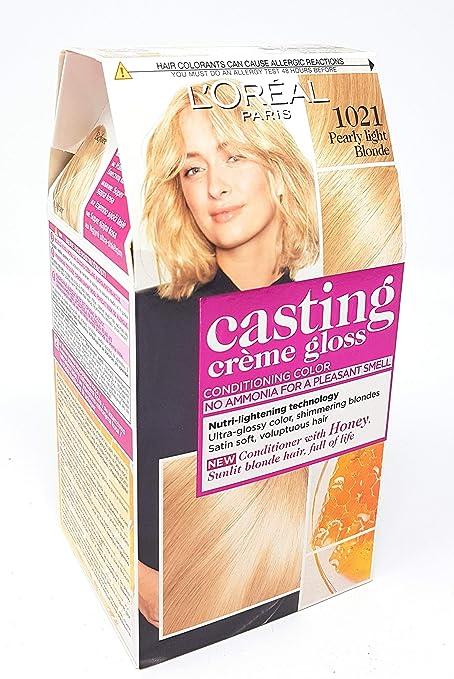 Tintura para cabello marca LORÉAL PARIS CASTING CRÈME GLOSS, sin amoniaco (1021 rubio perlado claro)