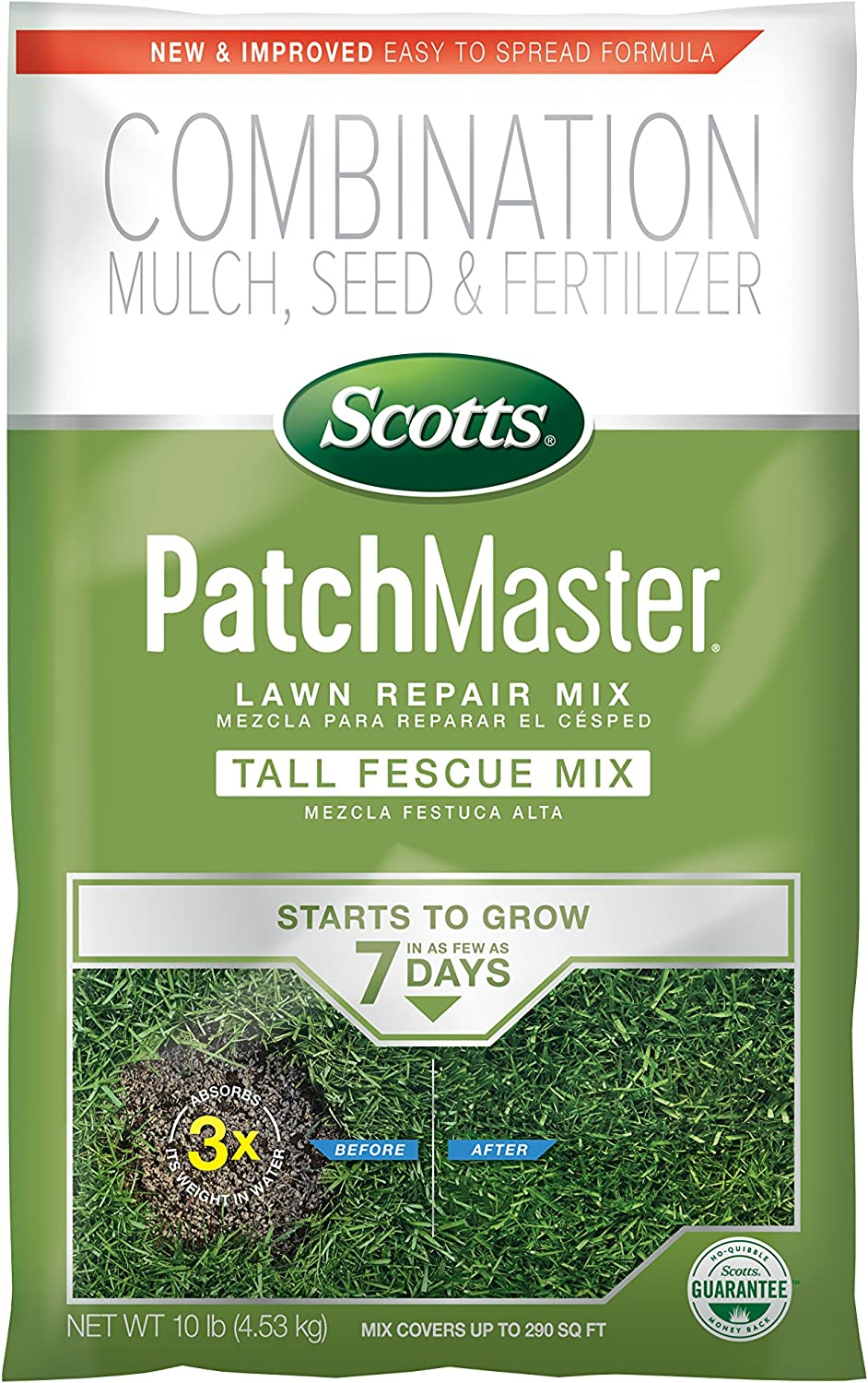 Scotts PatchMaster Lawn Repair Mix Tall Fescue Mix - 10 lb., All-In-One Bare Spot Repair, Feeds for up to 6 Weeks for Fast Growth and Thick Results, Covers Up To 290 sq. ft.