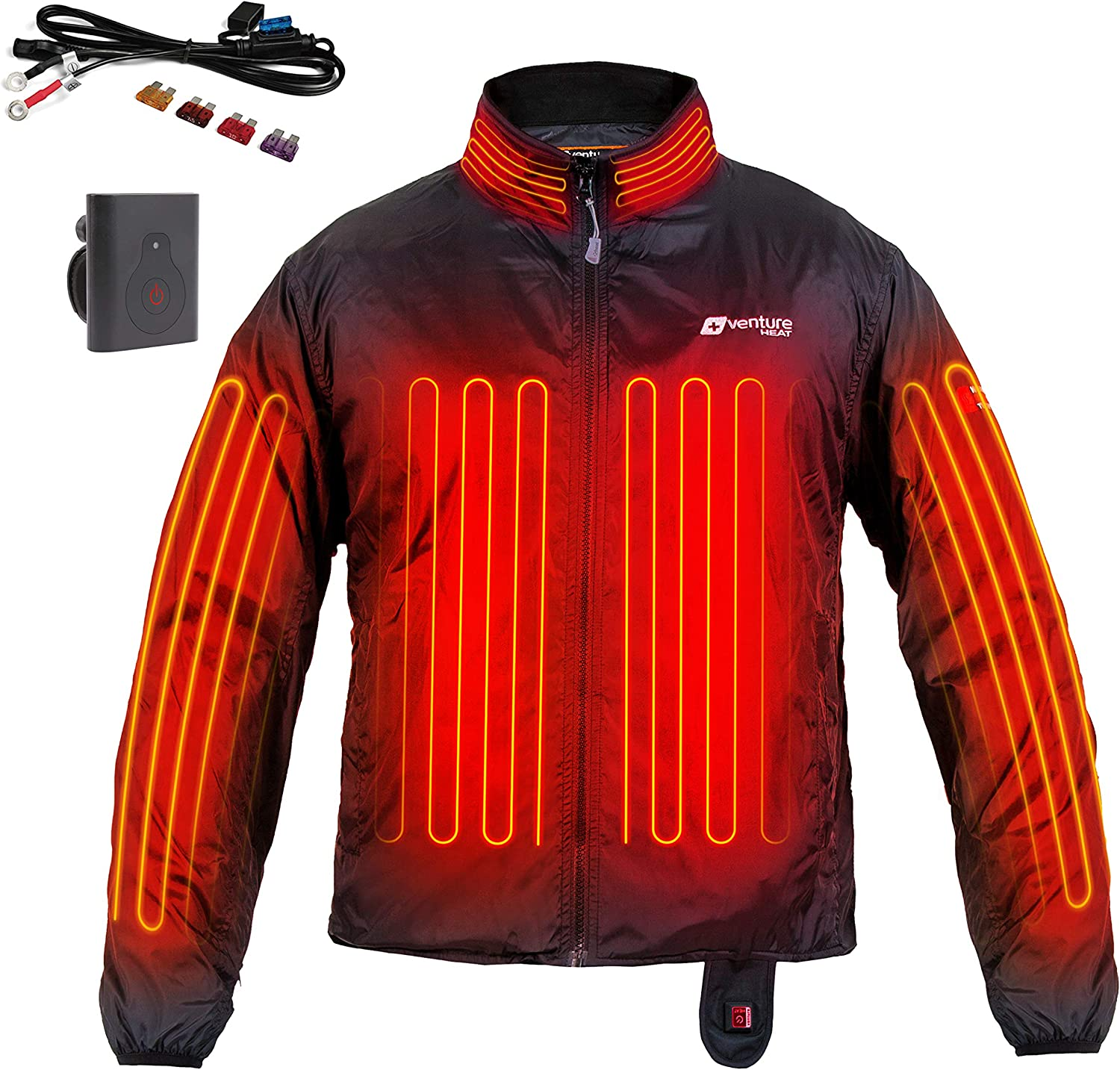 Amazon Com Venture Heat 12v Motorcycle Heated Jacket Liner With Wireless Remote 7 Heating Zones 75 Watt Deluxe Protective Gear Clothing