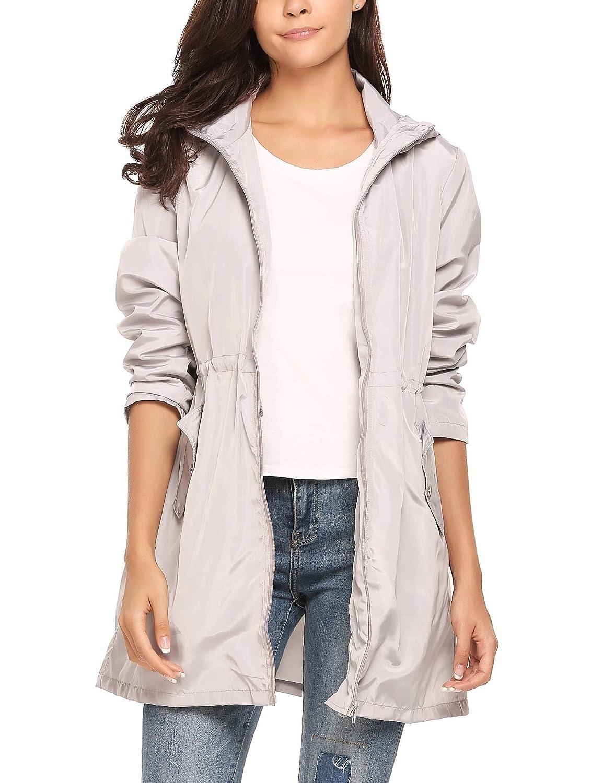 Meaneor Women Casual Hooded Long Sleeve Zip Up Rainproof Windproof Jacket Raincoats #MAH016664
