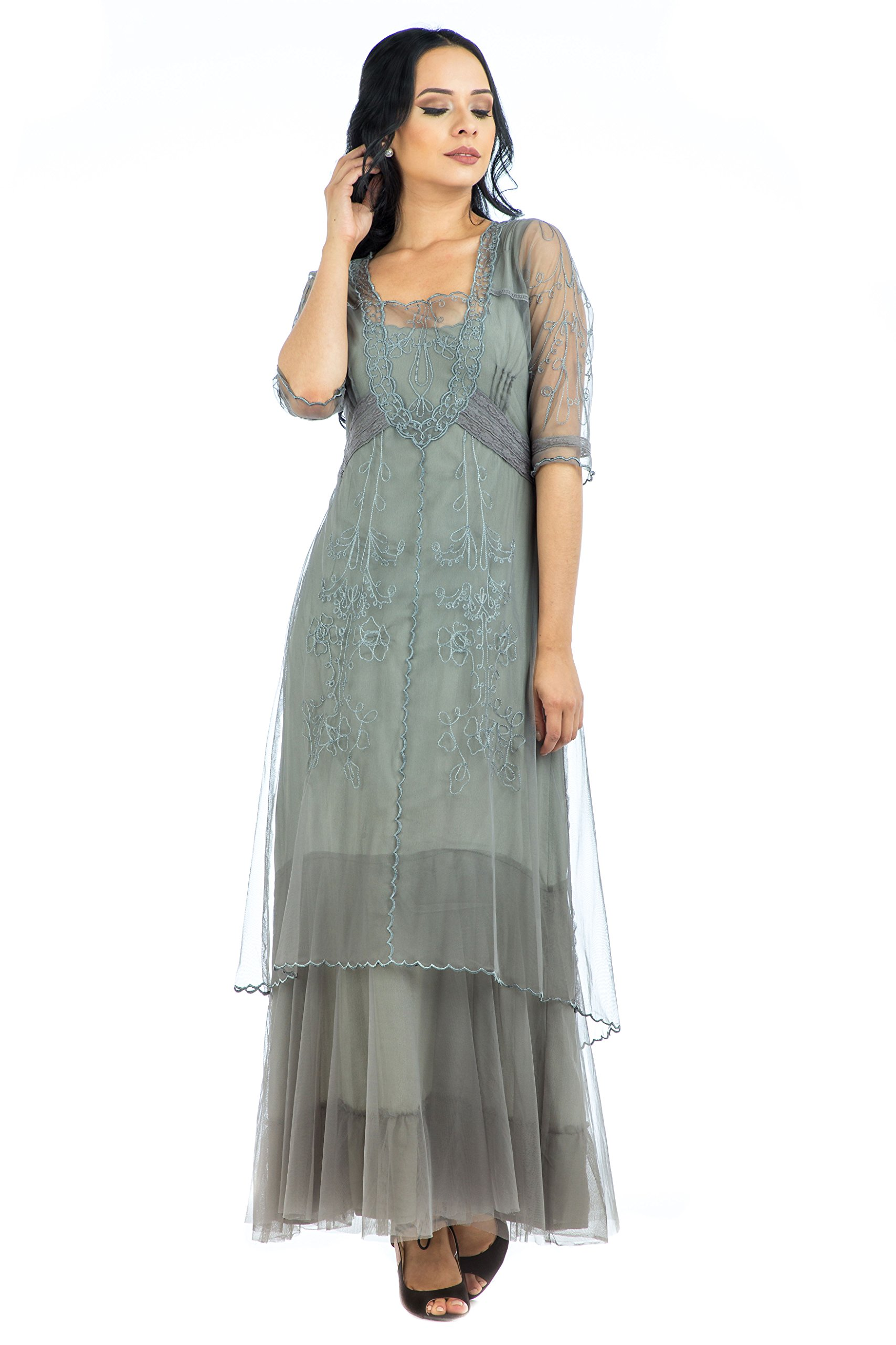 Nataya CL-201 Women's Victoria True Romance Vintage Style Party Dress in Smoke (S)