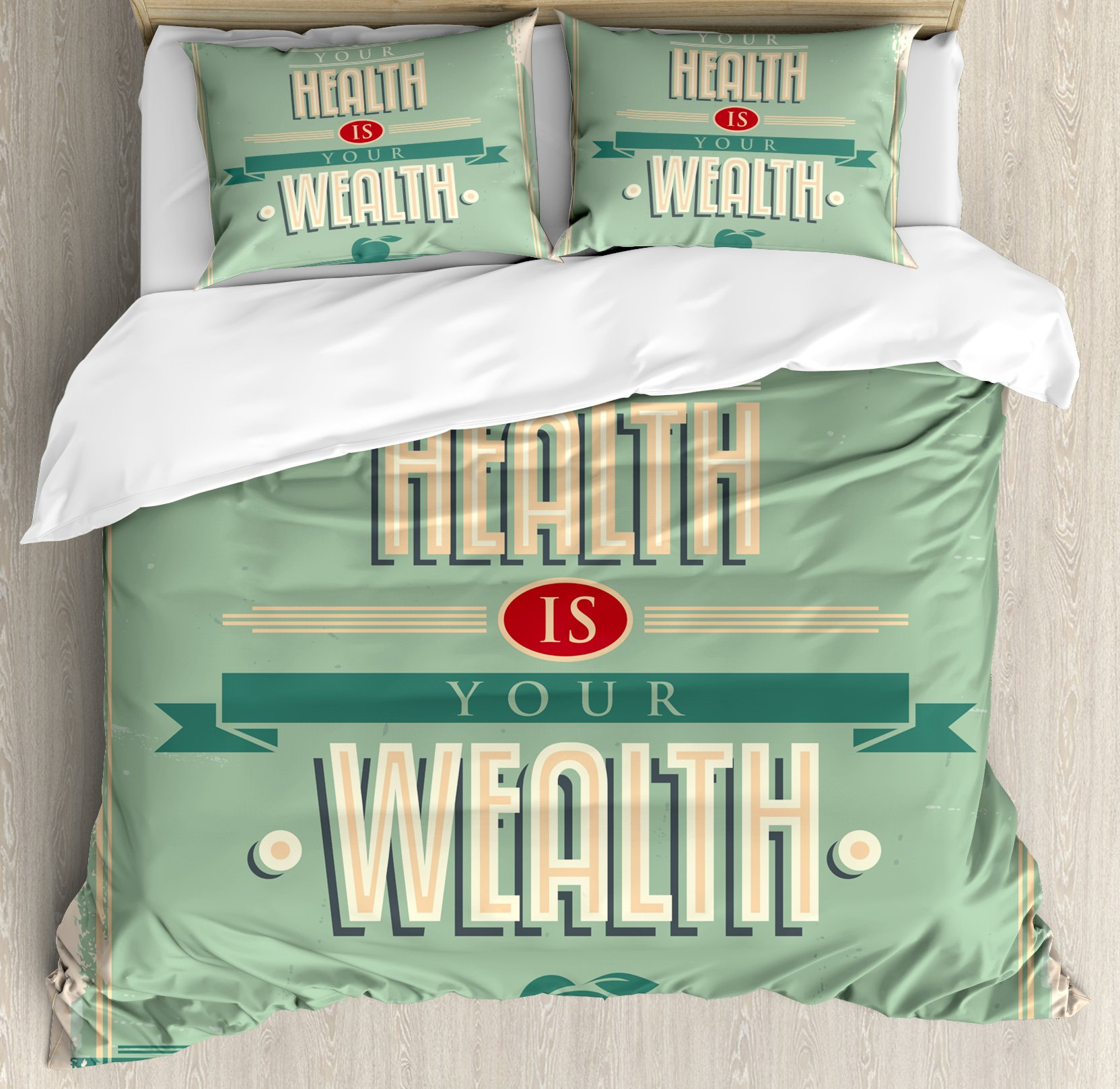 Fitness Duvet Cover Set King Size by Ambesonne, Your Health is Your Wealth Vintage Poster Design Inspirational, Decorative 3 Piece Bedding Set with 2 Pillow Shams, Pale Green Light Orange Tan