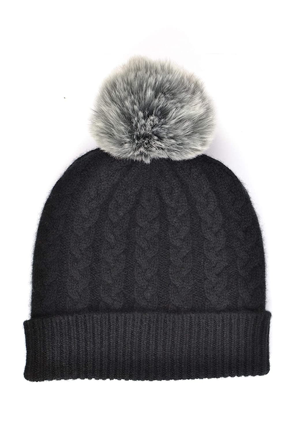 William Lockie Ladies Cashmere Cable Hat in Black with Grey Faux Fur Pom Pom Made in Scotland