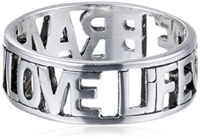 Amazoncom Sterling Silver Love Life Be Brave Cut Outs Ring Size