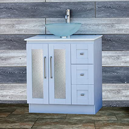 Amazing Elimaxs Solid Wood 30 Bathroom White Oak Vanity Cabinet White Quartz Top Vessel Sink B3021Wl 12F Home Remodeling Inspirations Genioncuboardxyz