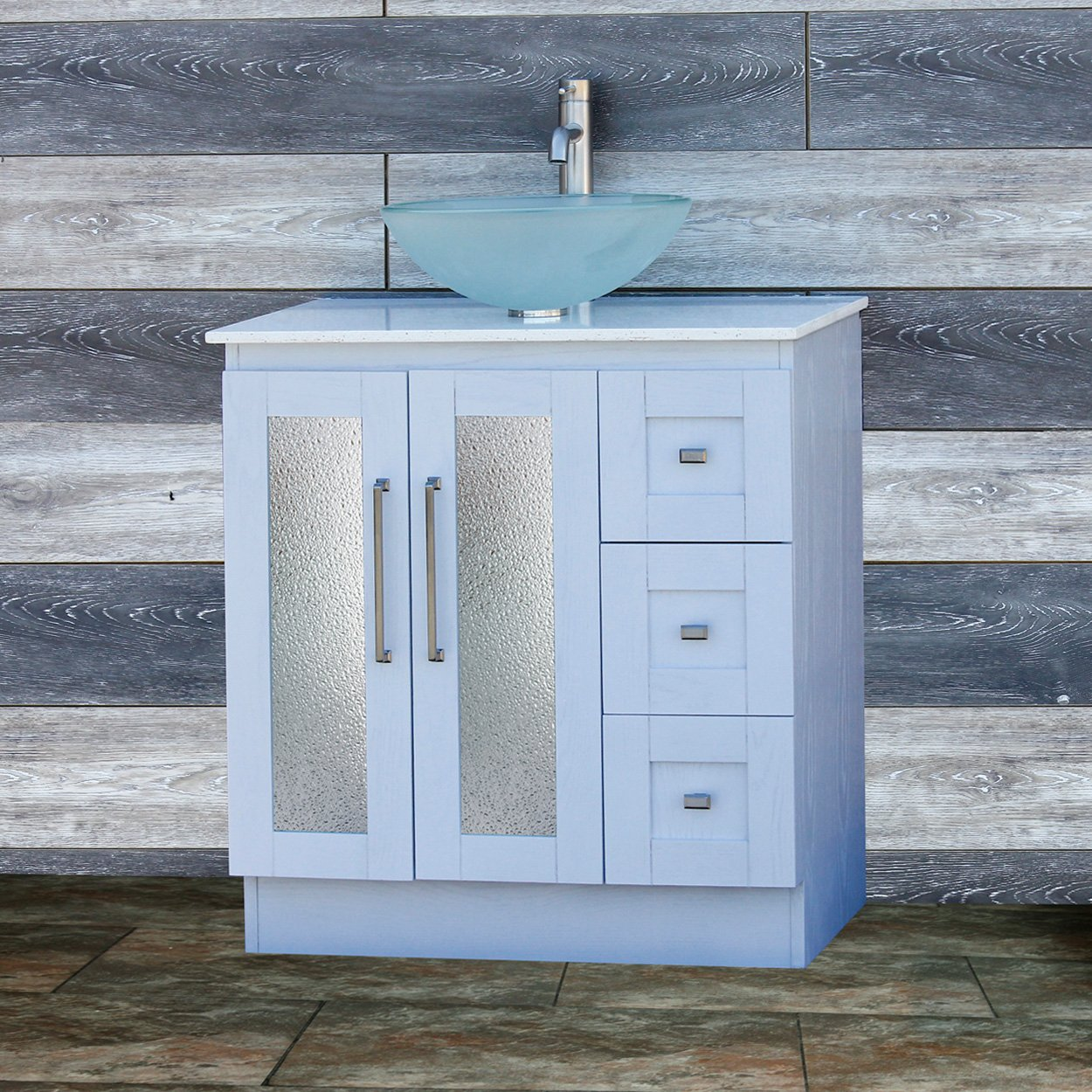Elimax's Solid Wood 30'' Bathroom White Oak Vanity Cabinet White Quartz Top Vessel sink B3021WL/12F by ELIMAX'S