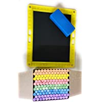90 Degree® Black Writing Original Metamorphic Rock Slate for Kids with 144 Dustless Coloured Chalks and Duster