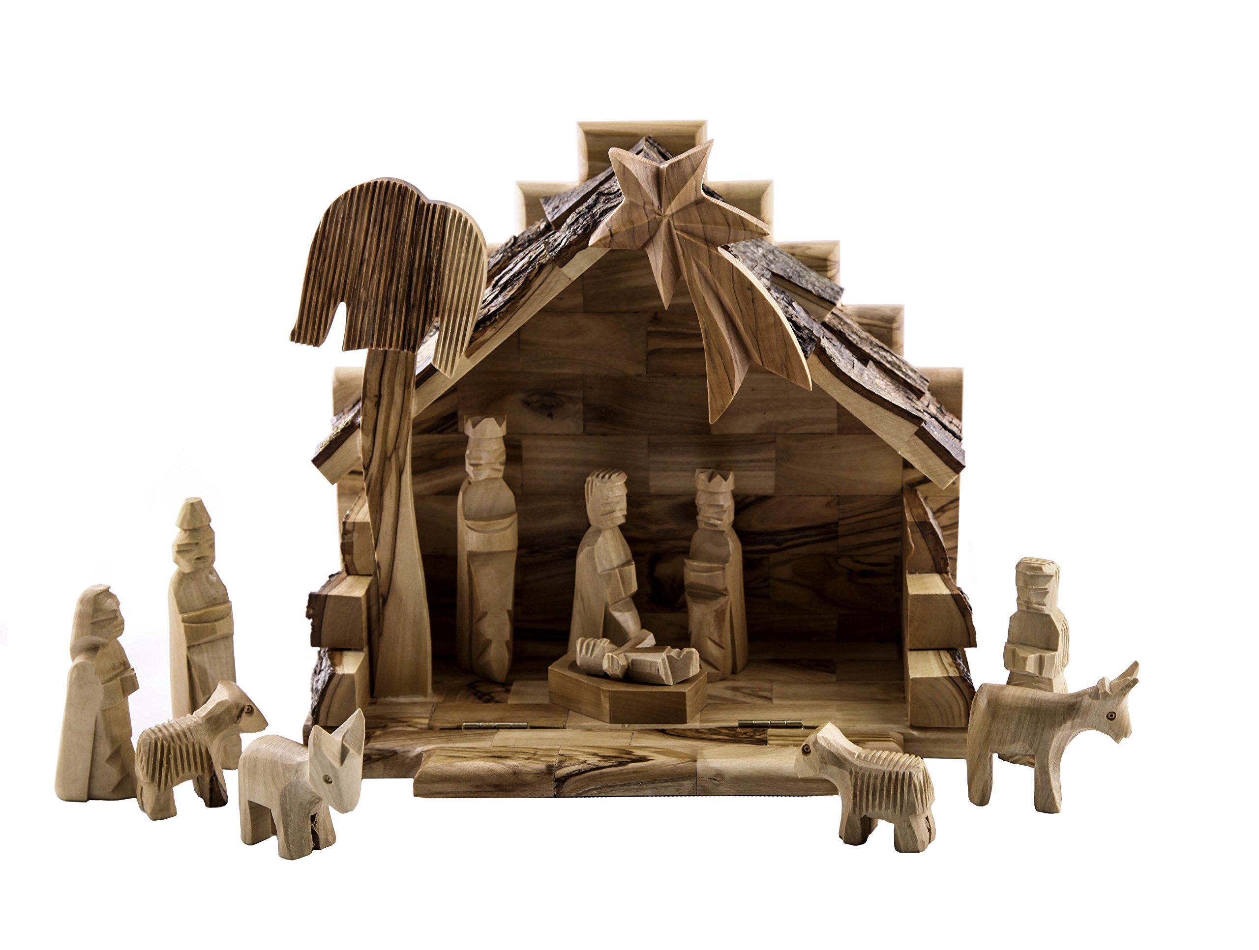 Queens of Christmas EW-NATIVITY-06 Decorative Nativity Figurine, 6'', Natural Wood