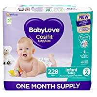 BabyLove Cosifit Nappies, Size 2 (3-8kg) One Month Supply (3 packs of 76, 228 nappies total)