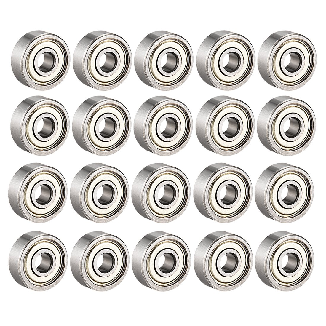 sourcing map 623ZZ Ball Bearing 3mm x 10mm x 4mm Double Shielded 623-2Z 80023 Deep Groove Bearings, Carbon Steel (Pack of 4)