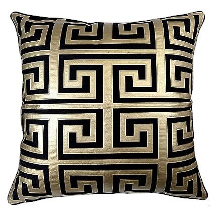 Amazoncom Edie 24x24 Applique Decorative Pillow Large Black Gold
