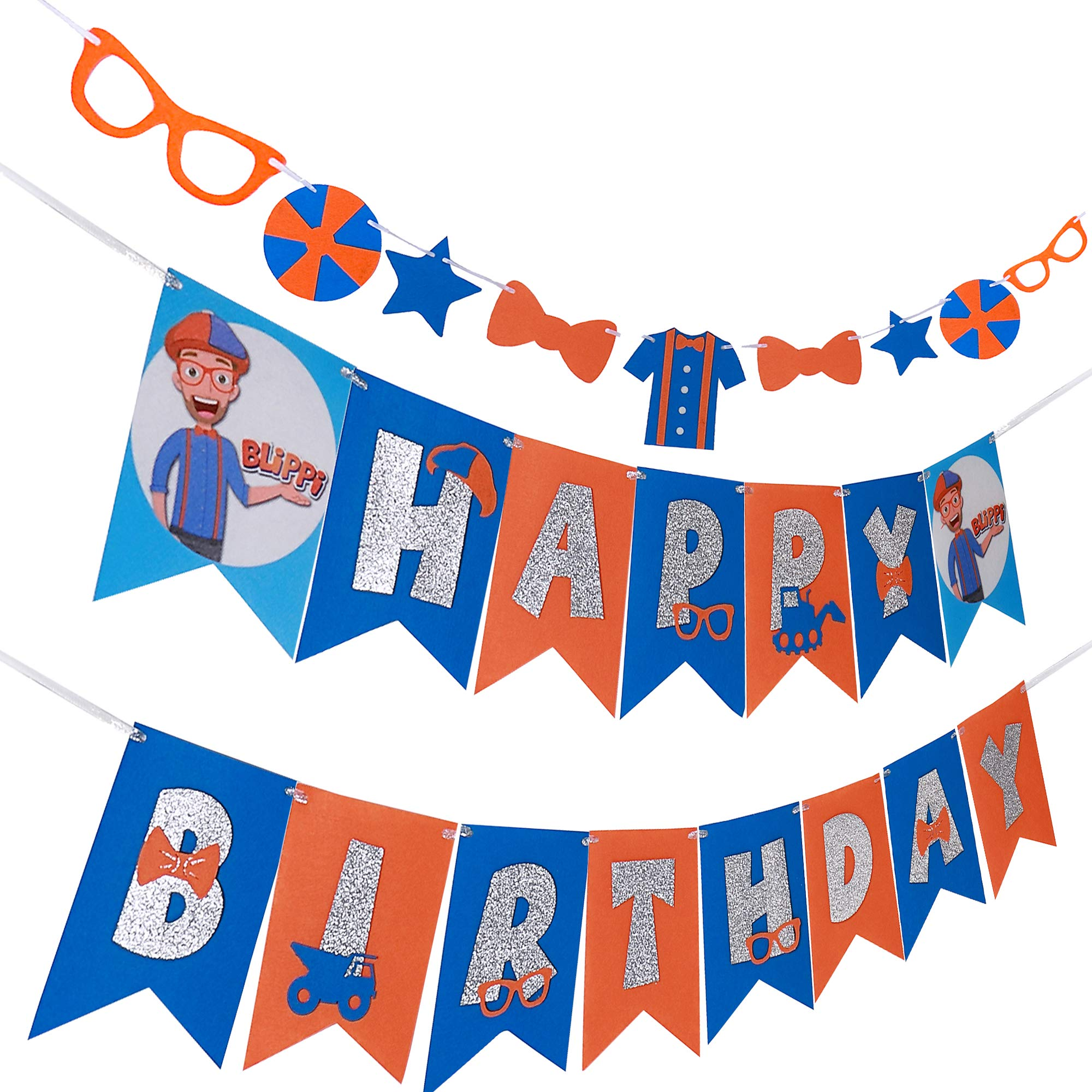 Blippi Happy Birthday Banner Garland Blippi Birthday Party Supplies Decorations for Boys Kids 2nd, 3rd, 4th, 5th Blippi Birthday Theme Party Set of 2 Felt Blippi Birthday Banner