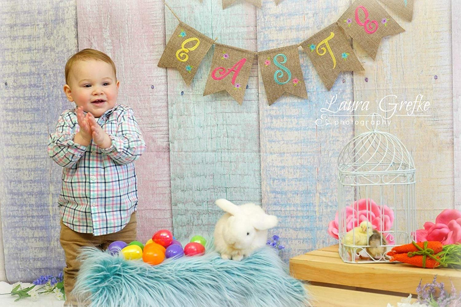 Kate 10x10ft Wood Fence Backgrounds for Photographer Easter Photography Backdrops Colorful Texture Backdrop Photo Booth by Kate (Image #3)