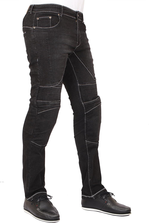Black Mens Motorcycle Skinny Slim FIT Denim Jeans with Dupont/™ Kevlar/® Lining