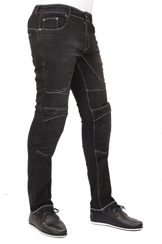 Men\'s Motorcycle Skinny Slim FIT Denim Jeans with Dupont™ Kevlar® Lining - Black