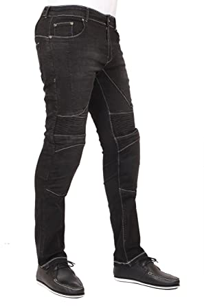 new styles b3db7 c6df2 Men's Motorcycle Skinny Slim FIT Denim Jeans with Dupont™ Kevlar® Lining -  Black
