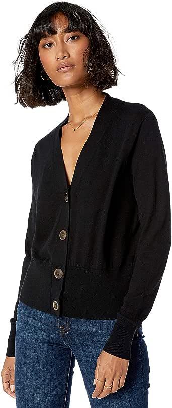 The Drop Women's Daniela Boxy V-Neck Fine Jersey Cardigan Sweater