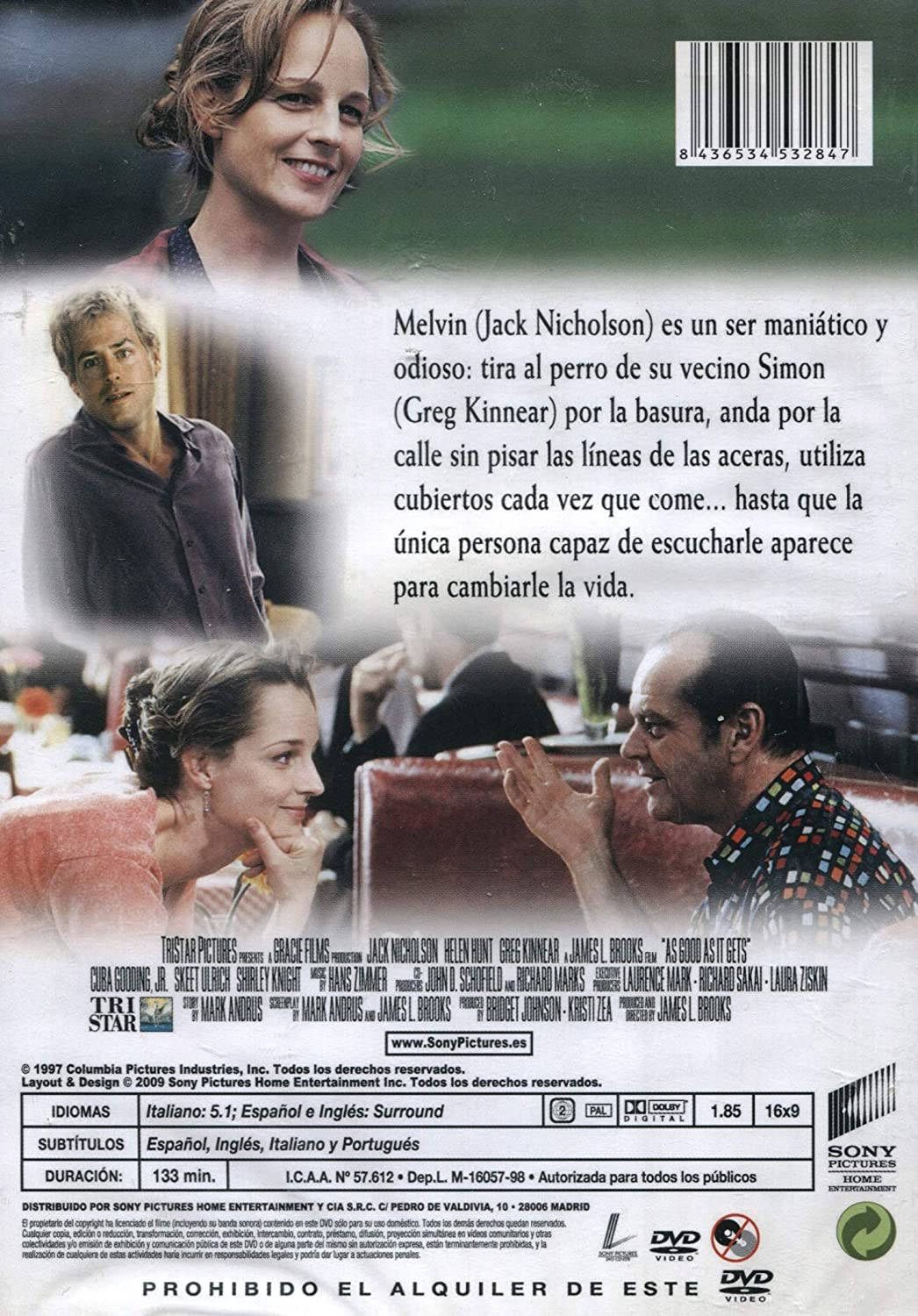 MEJOR ... IMPOSIBLE: Amazon.es: Jack Nicholson, Helen Hunt, Greg Kinnear, Cuba Gooding Jr., Skeet Ulrich, James L. Brooks: Cine y Series TV