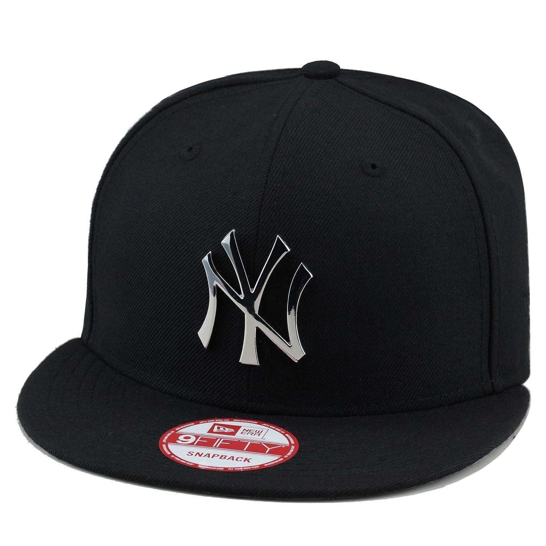 cb59262c170 Amazon.com  New Era New York Yankees MLB Snapback Hat Cap Black Silver  Metal Badge  Clothing