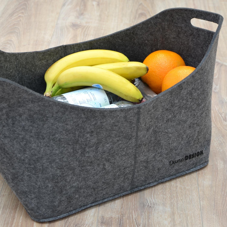 DuneDesign Bolsa XL de Fieltro Sint/ético 40x25x30cm para Compra le/ña 15kg Gris