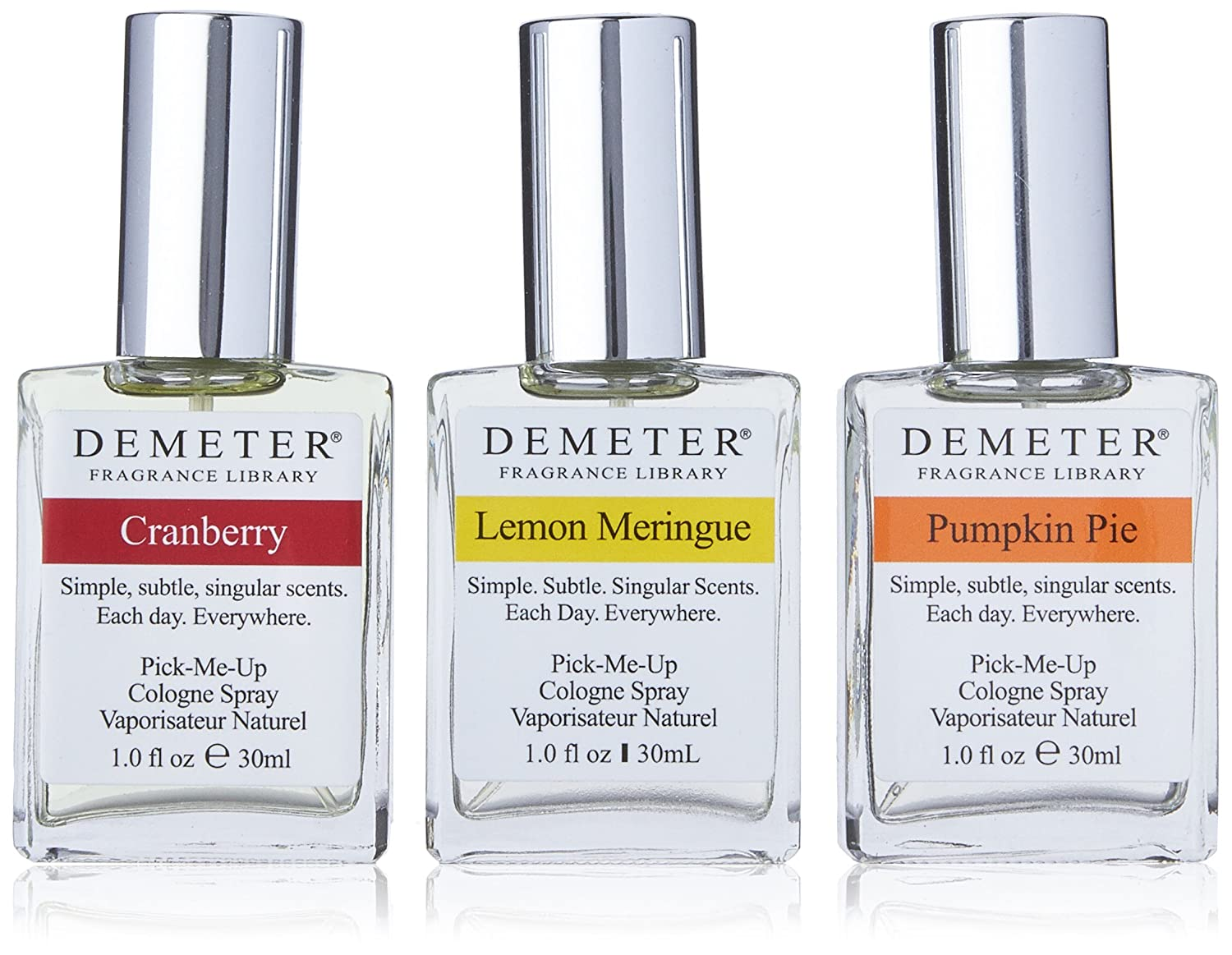 Blending Trio by Demeter for Unisex - 3 Pc Gift Set 1oz Cranberry Cologne Spray, 1oz Pumpkin Pie Cologne Spray, 1oz Lemon Meringue Cologne Spray (Limited Edition) DEMT4