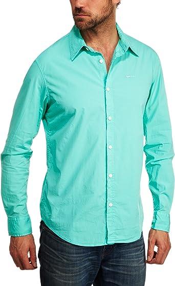GAS Jeans Andrew Core R 1783 – Camisa para hombre Verde Deep Aqua Medium: Amazon.es: Ropa y accesorios