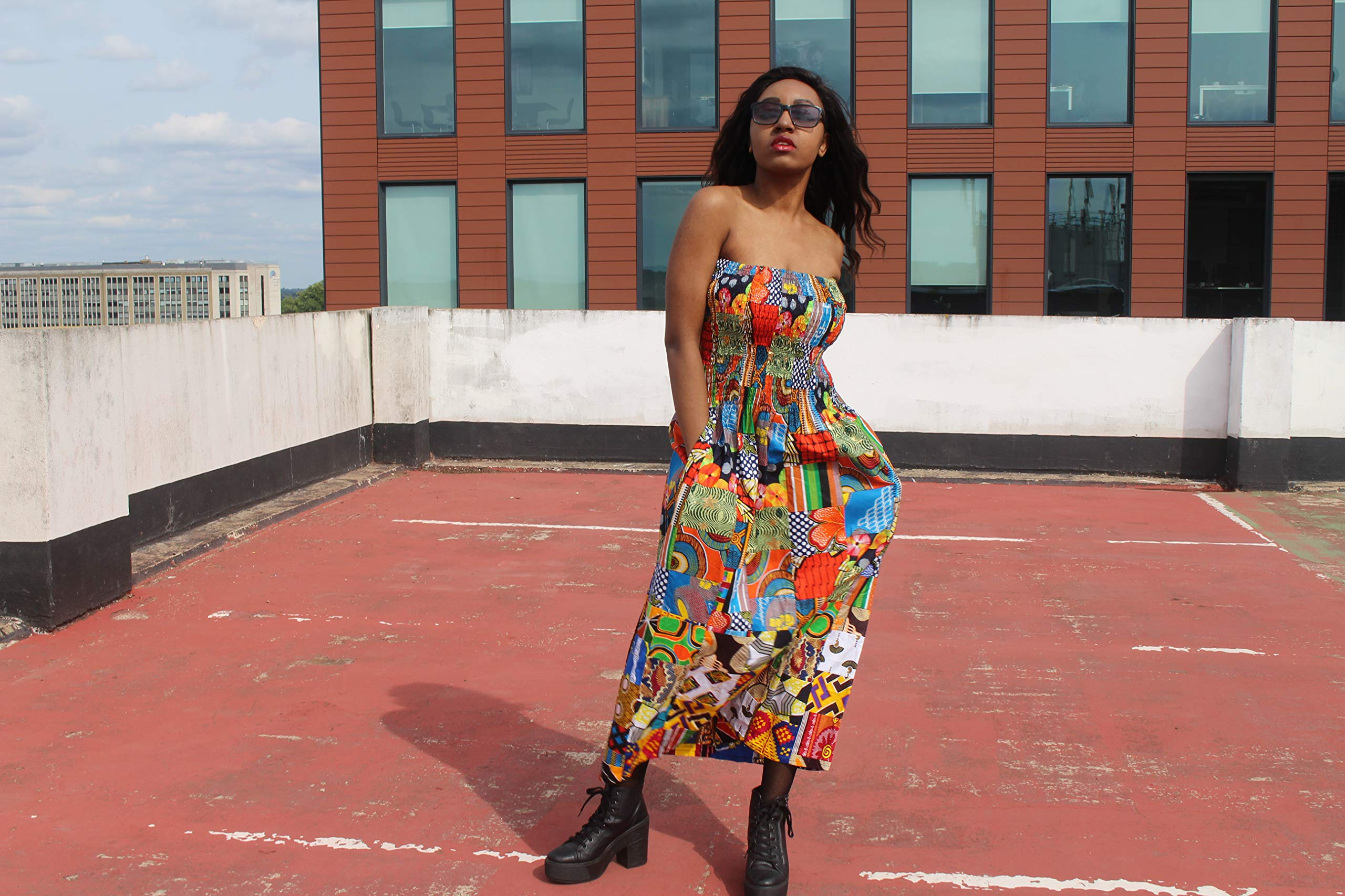 Patchwork Dress African Print Dress Wax Print Dress Festival Dress Bohemian Dress Boho Dress Continent Clothing Ethical Clothing Boho Dress Patterned Dress
