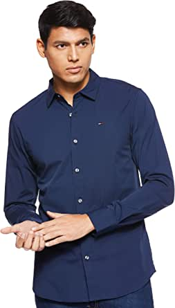 Tommy Jeans Original Stretch Camisa, Azul (Black Iris 002), Medium para Hombre