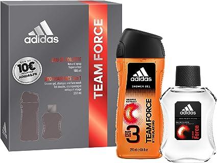 Coffret Adidas TEAM FORCE 2 produits Une Eau de Toilette, un Gel Douche et un Bon d'Achat